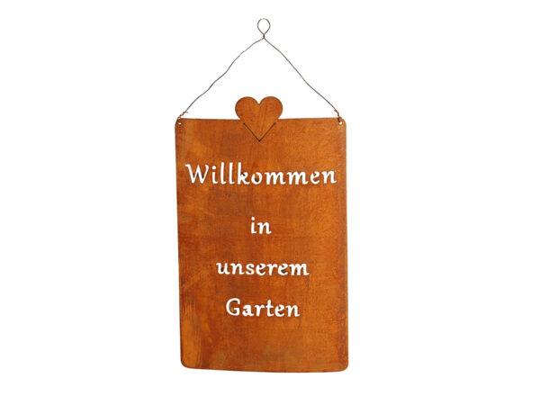 Gartendeko Rost Schild _Willkommen
