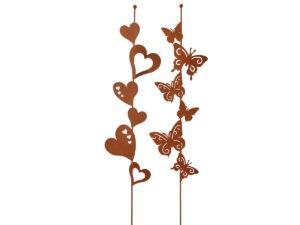 Garten Deko Stab Schmetterlinge Herzen
